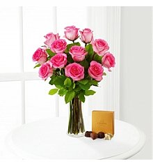 Flower Bouquets: Pink Rose Bouquet with Godiva® Chocolates